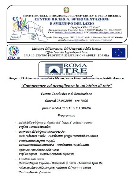 """Evento Conclusivo e di Restituzione """"Competenze ed accoglienza in un'ottica di rete"""" CPIA 10"""