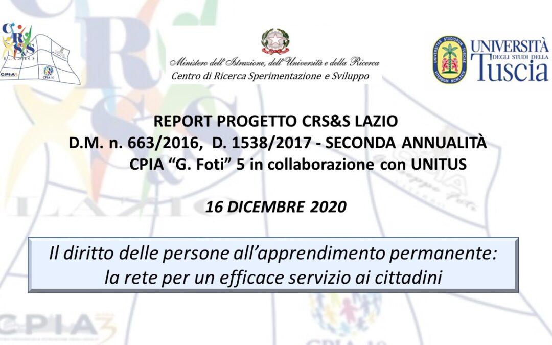 """REPORT PROGETTO CRS&S LAZIO: CPIA """"G. Foti"""" Viterbo & UNITUS"""